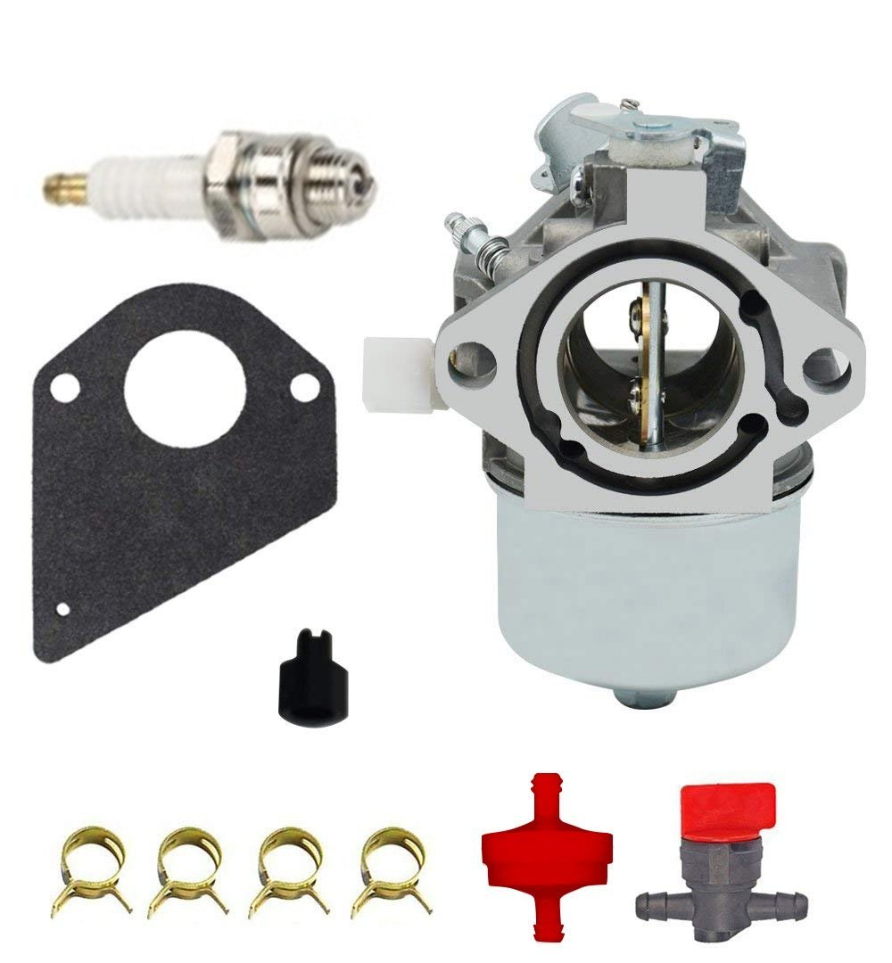 Woworld Carburetor w//Gasket Fuel Filter Repower kit for Briggs /& Stratton 499158 699831 694941 499163 Lawn Mower Tractor Carb