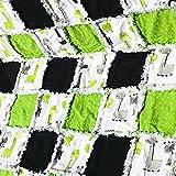 Modern baby rag quilt black white green giraffe