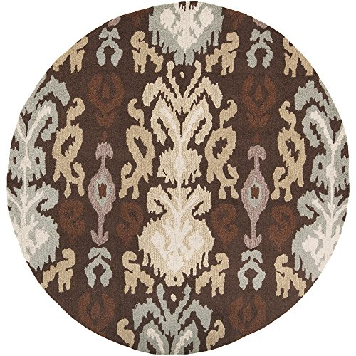 - Surya Brentwood BNT-7673 Transitional Hand Hooked 100% Polyester Dark Chocolate 4' Round Global Area Rug