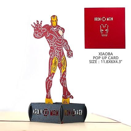 Amazon Pop Up Thank You Cards Xiaoba 3d Iron Man Birthday