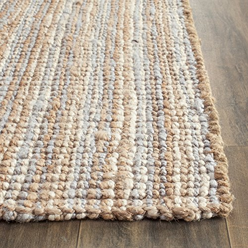 """Safavieh Natural Fiber Collection NF447K Hand Woven Grey and Natural Jute Runner (2'6"""" x 8')"""