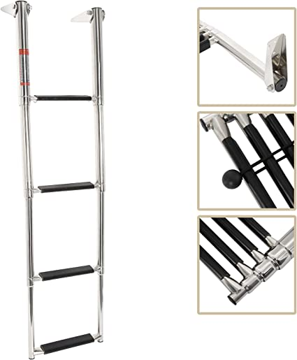 4 Step Telescoping Swim Marine Boat Ladder Stainless Steel with Built in Handle