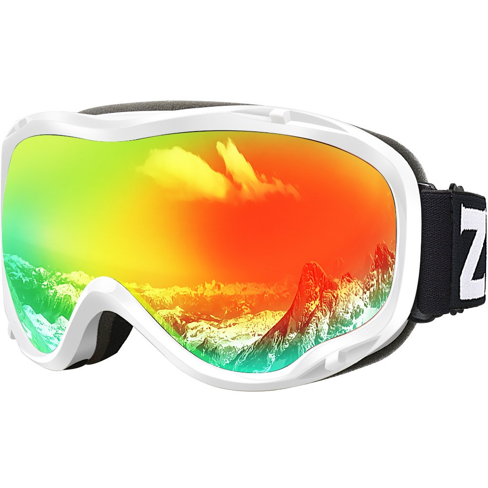 Zionor Lagopus Ski Snowboard Goggles UV Protection Anti Fog Snow Goggles for Men Women Youth VLT 16% White Frame Mirrored Red Lens by Zionor