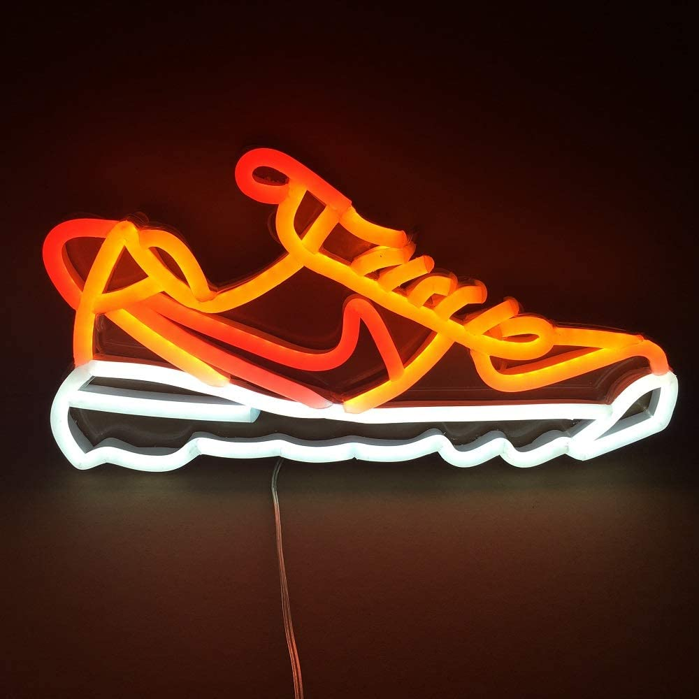 Red and White Neon Signs Lightning Sport Shoe 8x14'' for Home Room Shop Mall Party Wall Decorations RF Wireless