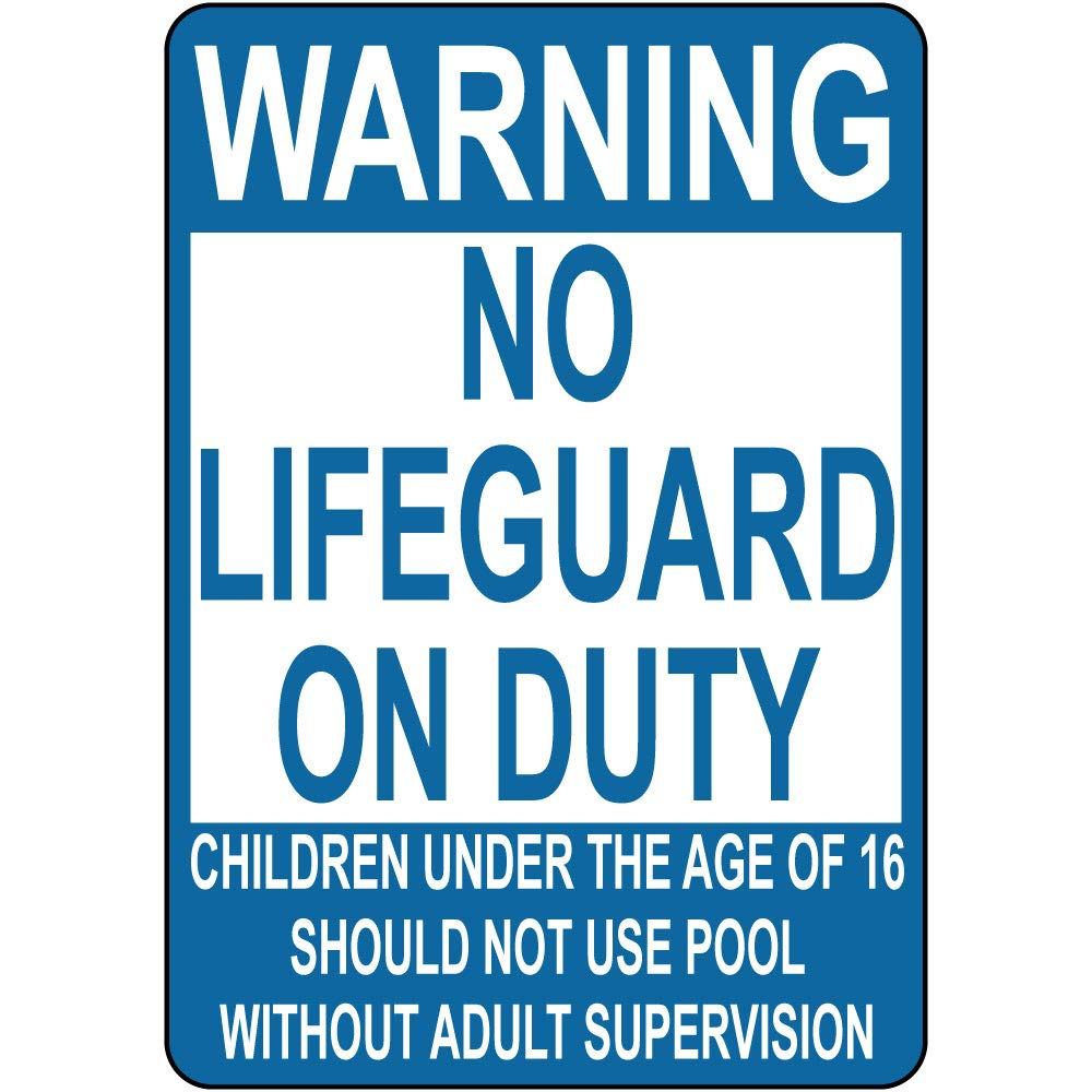 Fastasticdeals Warning No Lifeguard On Duty Children Not Use Pool 12X18 Aluminum Metal Sign by Fastasticdeals