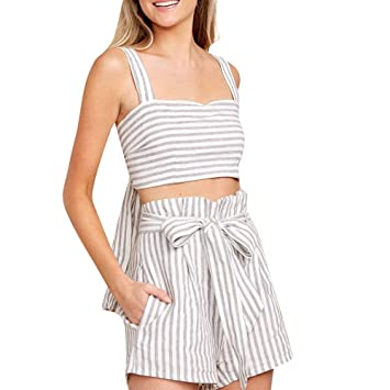 924e492cd22 Women s Summer Striped Jumpsuit Casual Loose Short Sleeve Jumpsuit Rompers  Camis O-Neck Crop Top