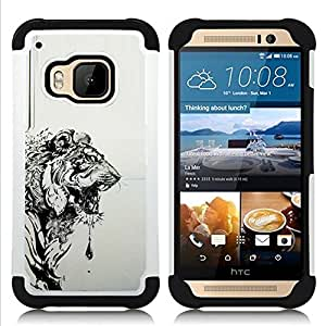 For HTC ONE M9 - Tiger Grey Black Drawing Painting Art Dual Layer caso de Shell HUELGA Impacto pata de cabra con im????genes gr????ficas Steam - Funny Shop -