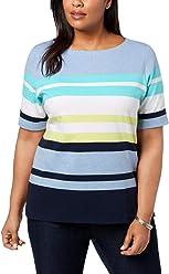 e93434764af5e3 Karen Scott Womens Plus Striped Cuffed Pullover Top