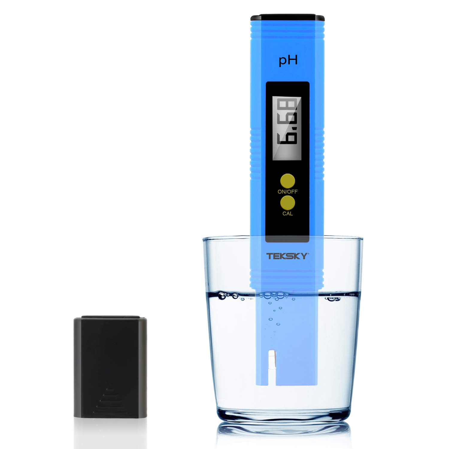 TekSky Digital pH Meters - 0.01pH Accuracy, 0-60 Celsius, 0-14 PH Measurement Range - Food Brewing Drinking Hydroponics Aquariums Pools Spa - Calibration Powders, Sensitive Probe Design with ATC