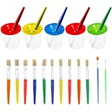 PAXCOO 5 Pcs No Spill Paint Cups with Color Lids and 12 Pcs Painting Brushes