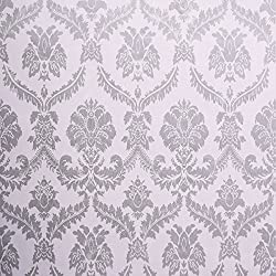 SICOHOME Wallpaper,11 Yard Damask Silver Peel and Stick Wallpaper