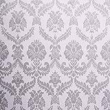SICOHOME Wallpaper,11 Yard Damask Silver Peel Stick Wallpaper