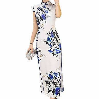 レトロオリエンタルドレス青と白の磁器チョンサムドレスカクテルドレスチョンサム チャイナ