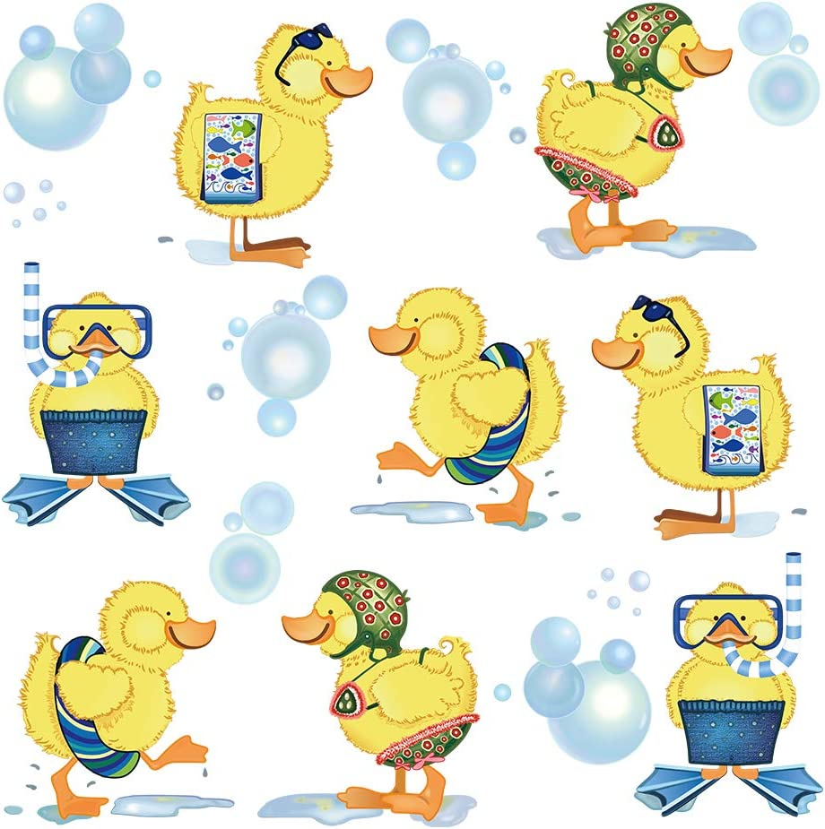ufengke Little Yellow Ducks Wall Stickers Kids Bathroom Removable Vinyl Wall Art Decals Wall Decor