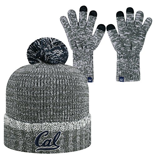 Top of the World Cal Bears Official NCAA Combo Frostbite Cuffed Stocking Stretch Knit Sock Hat Cap Beanie and Gloves 559209
