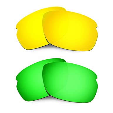 HKUCO Mens Replacement Lenses For Oakley Tailend Red/Titanium/Emerald Green Sunglasses N4Vav