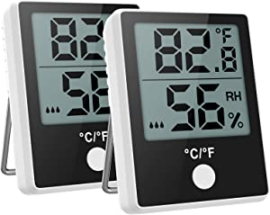 Brifit Indoor Hygrometer Thermometer, Digital Temperature and Humidity Monitor with LCD Screen, MIN/MAX Records, °C/°F Switch, Comfort Indicators Multifunctional Digital Temperature for Home (2 Pack)