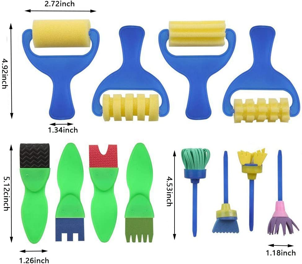 12 Pack Washable Sponge Painting Brushes Early Learning Sponge Painting Tools Arts Craft for Toddlers and Kids Fineder Kids Paint Brushes Set