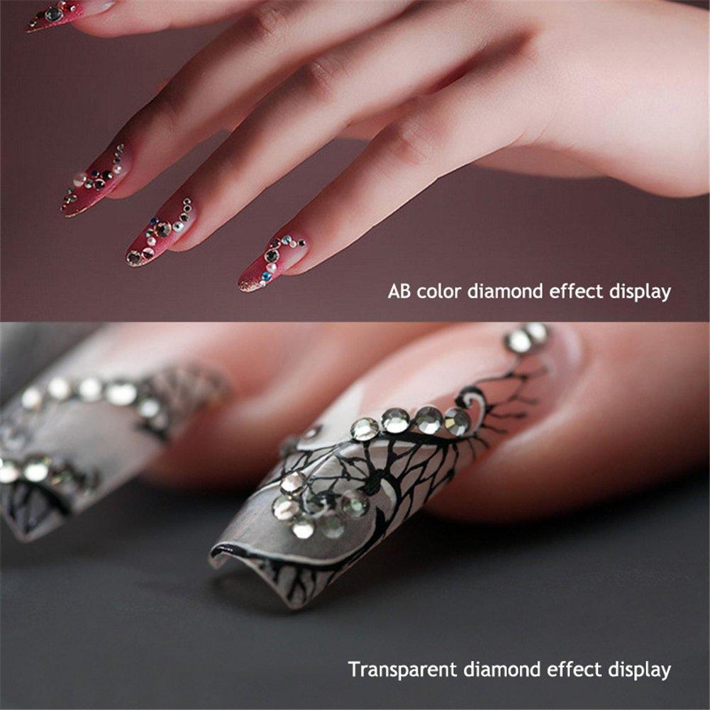 Dxlta Arte en las uñas 800 piezas/paquete Mezclar tamaños uñas, Crystal Clear AB Sin revisión Rhinestones flatback Para decoración de uñas en 3D (4)
