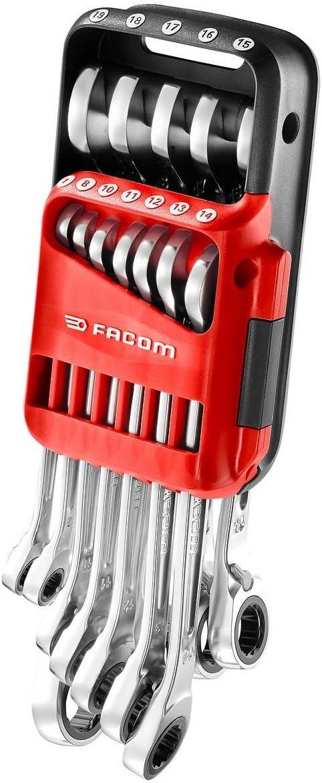 Juego de llaves combinadas con carraca m/étrica en estuche port/átil color plateado FACOM 467B.JP12 juego de 12 piezas