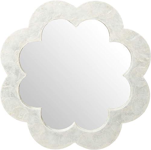 KOUBOO Flower Capiz Seashell Wall Mirror, Natural White