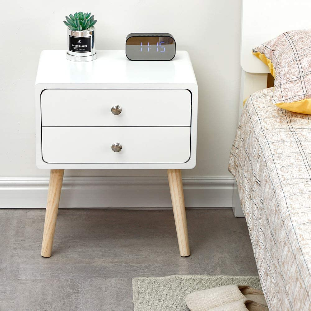 Bianco, 40/×30/×50CM POPSPARK Comodino con cassetto Comodino Moderno tavolino//Comodino in MDF per Mobile Camera da Letto