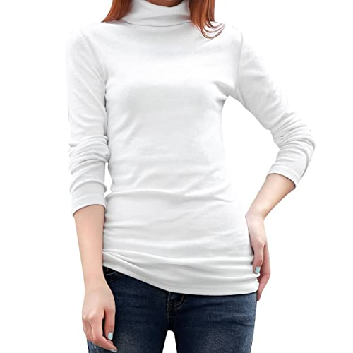 TOOGOO(R) Camiseta tejida elastica tunica de manga larga de cuello alto de mujeres de color blanco M