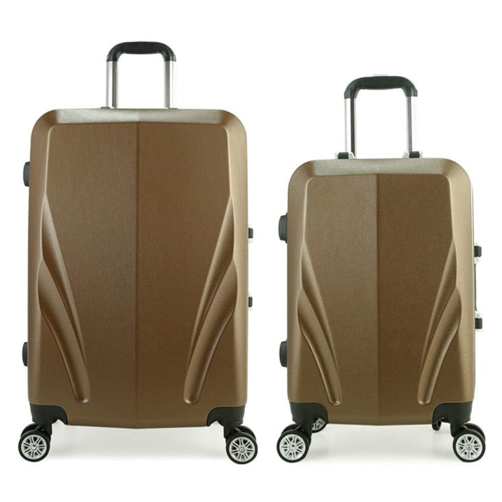 大容量スーツケース 20in 24inTravel荷物軽量2ピース荷物入れ子セットロックトロリーケーススーツケースキャリーオンアップライトスーツケース360°サイレントスピナー多方向ホイールスーツケース 軽量かつ低騒音 (色 : 褐色, サイズ : 20in+24in) 20in+24in 褐色 B07RBN92G7