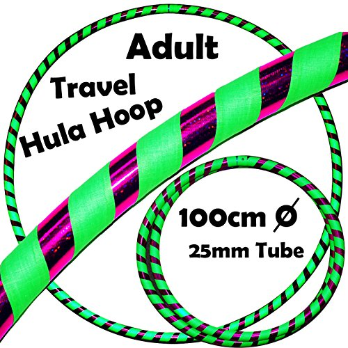 PRO Hula Hoops (Ultra-Grip/Glitter Deco) Weighted TRAVEL Hula Hoop (100cm/39') Hula Hoops For Exercise, Dance & Fitness! (640g) NO Instructions Needed - Same Day Dispatch.! (UV Green / Purple Glitter)