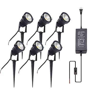 ALEDECO LED Low Voltage Landscape Lights with Transformer 12V 5W Waterproof Garden Pathway Lighting Warm White Walls Trees Flags Outdoor Spotlights (6 Pack) : Garden & Outdoor
