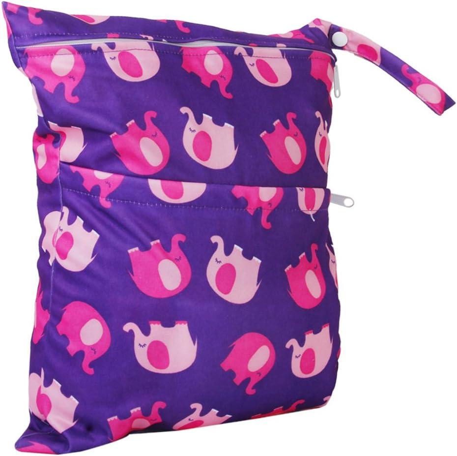 Bolsa de pa/ñales de tela de beb/é con cremallera impermeable Bolsa de pa/ñales de tela de beb/é reutilizable lavable con patr/ón de animales por TheBigThumb