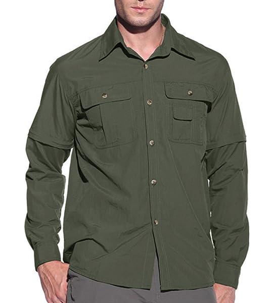 KEFITEVD Camisa táctica para Hombre Camisa Militar de Manga Corta Camisa Transpirable para Exteriores Camisa Ligera de Trekking Hombre Verde Militar M: Amazon.es: Deportes y aire libre