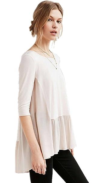 Moda Irregular con Bajo Ribete Asimétrico Posterior Escalonado Chifón Spliced Edge Pliegues Plisado T-Shirt