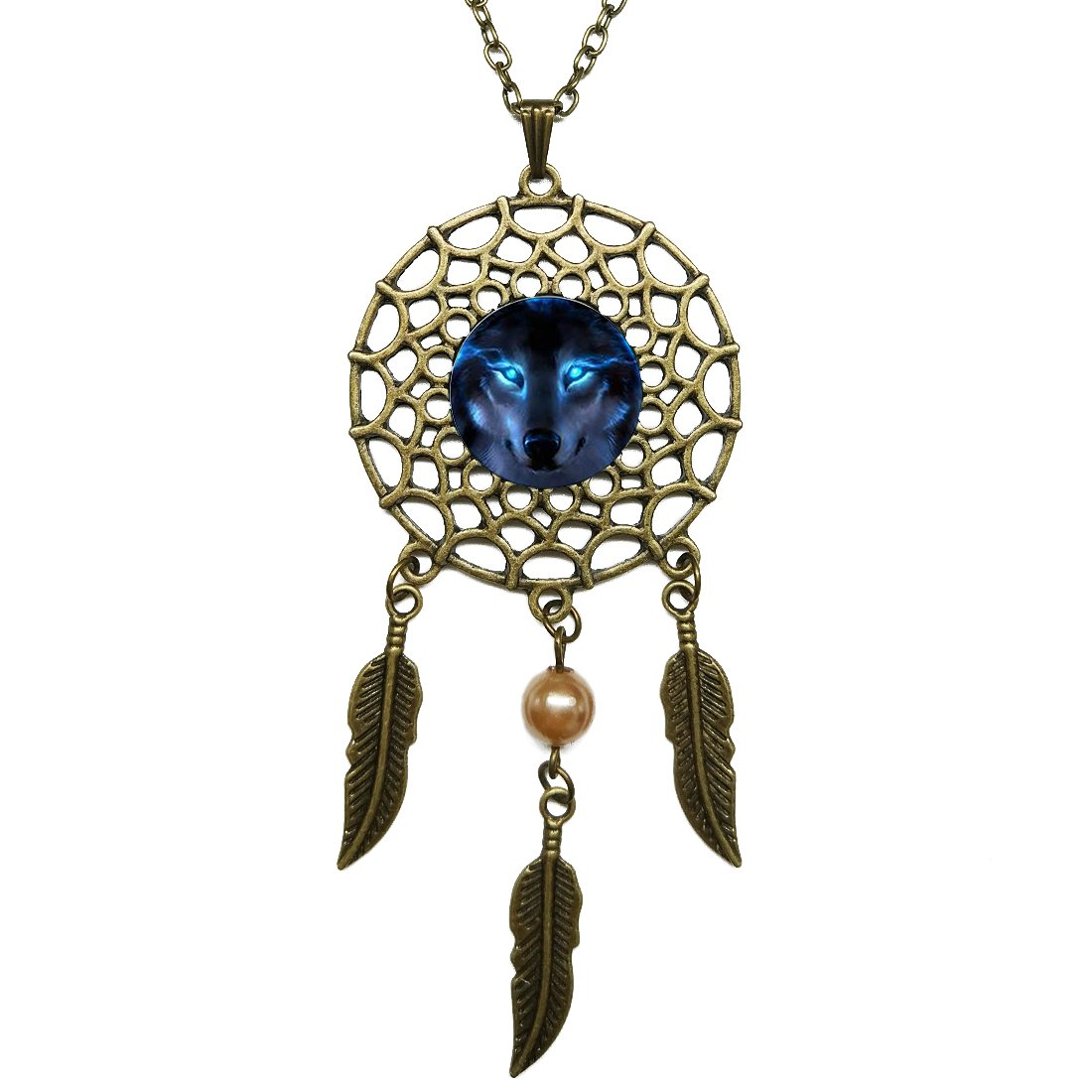 Dreamcatcher Pendant Nordic Wiccan Wolf Bronze Chain Long Necklace Jewelry Dangling Feather Charms Glass Inlaid