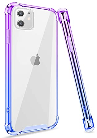 iPhone 11 Color Gradient Protective Case, Ansiwee Colorful and Clear Hard  Back Shock Drop Proof Impact Resist Extreme Durable Protective Cover Cases
