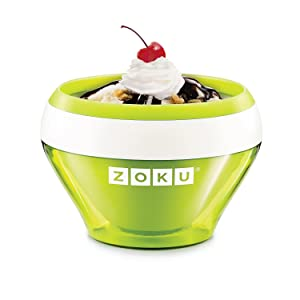 Zoku Ice Cream Maker, Compact Make and Serve Bowl with Stainless Steel Freezer Core Creates Soft Serve, Frozen Yogurt, Ice Cream and More in Minutes, BPA-free, 6 Colors, Green