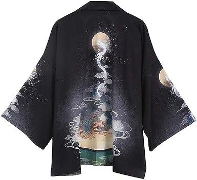 HAORUN Chamarra Estilo Kimono japonés para Hombre, con impresión de dragón: Amazon.es: Ropa y accesorios