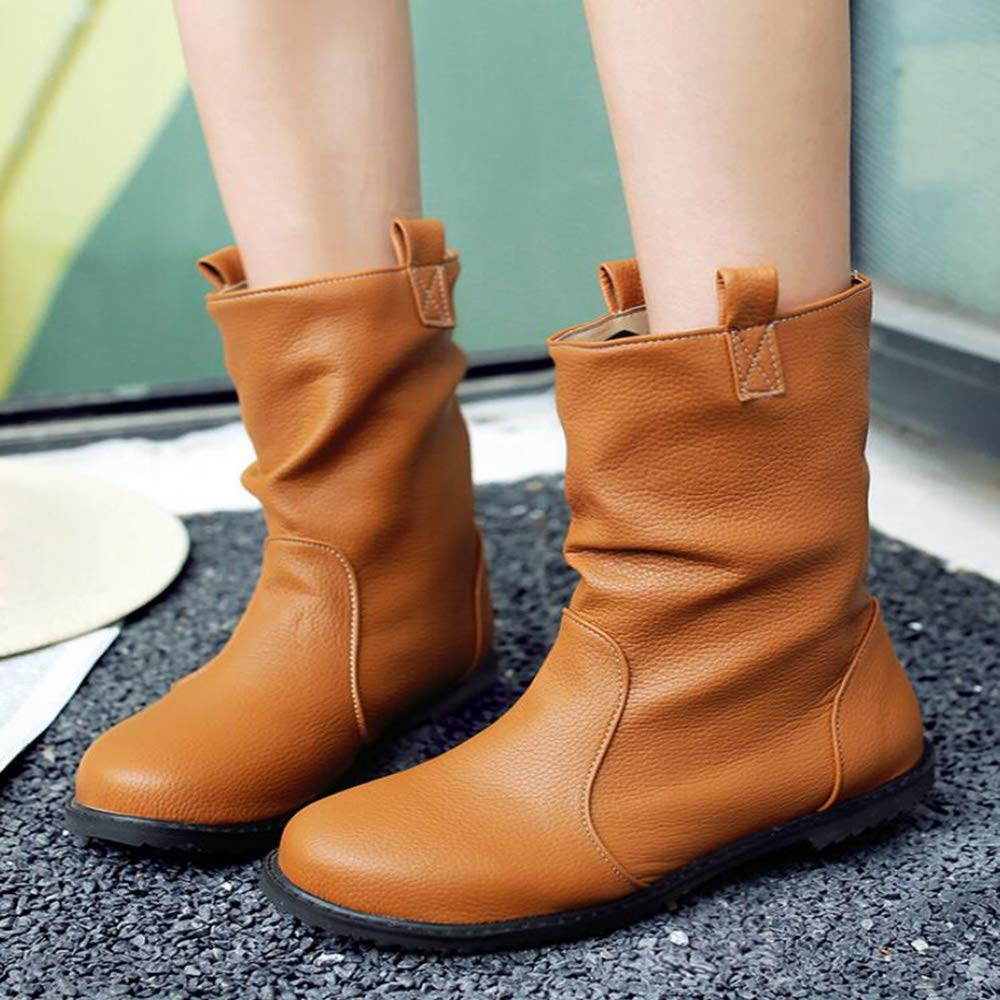 Autumn Women's Boots Large Size Women's Boots Boots Women's Flat Boots Martin Bootsfashion Boots,Yellow,UK7/EUR41 B07G934N87 Boots a500f8