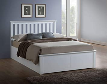 Peachy White Ottoman Storage Bed Happy Beds Phoenix Wood Modern Bed Frame 4Ft Small Double 120 X 190 Cm With Pocket Sprung Mattress Included Creativecarmelina Interior Chair Design Creativecarmelinacom