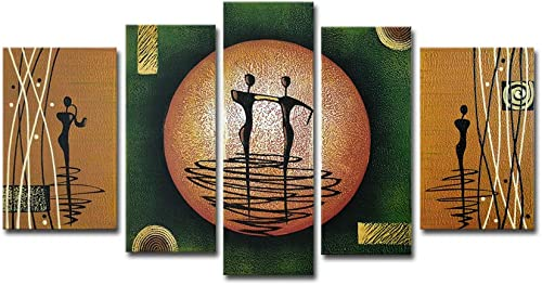 Wieco Art Dance on a Golden Moon Modern 100 Hand-Painted Stretched and Framed Artwork 5 Piece Abstract Oil Paintings on Canvas Wall Art D cor for Living Room Bedroom Home Decorations