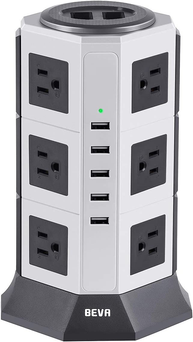 Surge Protector Desktop Power Strip Tower-BEVA 12 AC Outlets 5 USB Ports Charging Station 1875W/15A, 1050 Joules Multi Protection with 6.5ft Heavy Duty Long Extension Cord for Home Office ETL Listed