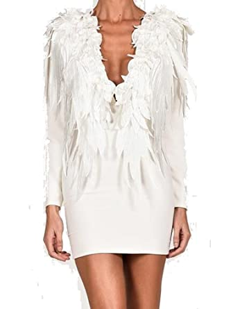f46e89d70c6 Miss ord Women Fashion Deep V Long Sleeve Stereo Feather Wings Elegant  White Dress at Amazon Women s Clothing store