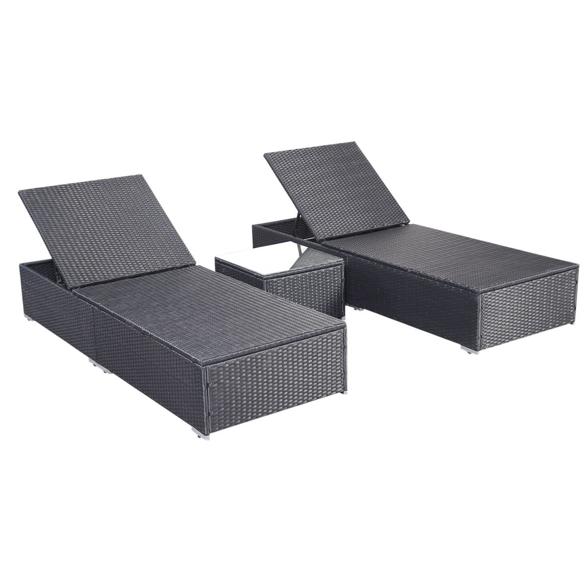 Amazoncom Tangkula 3 Pcs Wicker Outdoor Furniture Pool Chaise
