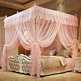 Mengersi 4 Corners Bed Curtain Canopy Mosquito Netting For Girls Bed Canopies Child Gift (Queen, Peach)