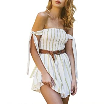 80b1f5ba29aa Jamicy Women Summer Casual Vertical Striped Playsuits Jumpsuit with Belt   Amazon.co.uk  Clothing