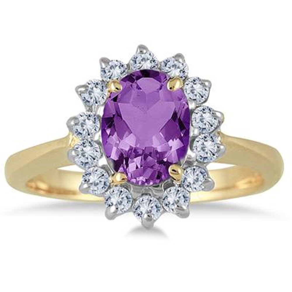 Smjewels 1.50 Carat Oval Purple Amethyst And Diamond Halo Ring In 14K Yellow Gold Plated