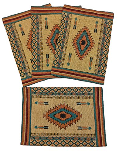 Diamond Arrow Southwestern Desert Design Placemats Set of 4, 13x19 inches by RaaKha