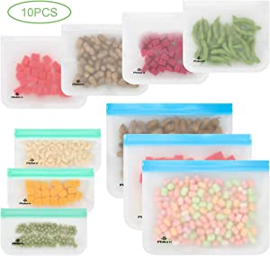 PHILORN Reusable Food Storage Bags 10 Pack Washable Food Container Eco Friendly for Fruits Veggies Cookies Sandwich Pie Bread Candy Cake Freezer Fresh Bag Ziplock Bags