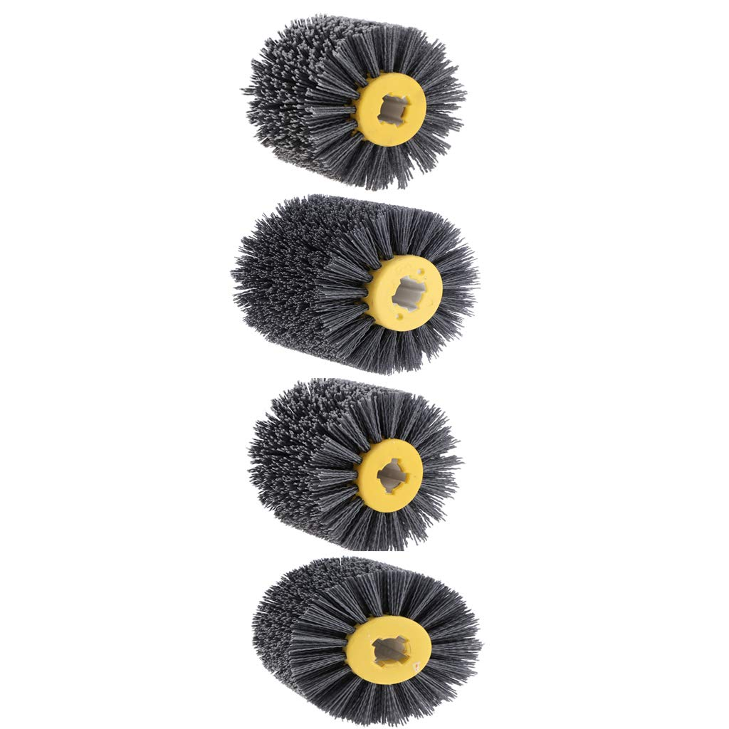 Fityle 4 Pieces 80/120/180/240 x100mm Abrasive Wire Drawing Wheel Burnishing Brush for Wood Furniture Polishing