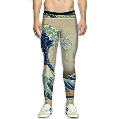 Olivefox Fit Clothes UV for Men Compression Sports and Fitness Tights Workout Pants Breathable Sea Waves Cool Dry Baselayer Running Leggings Yoga 3D Apparel Print Pant
